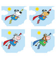super hero dog and cow collection - 2 vector image vector image