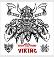 viking warrior with big crossed axes vector image vector image