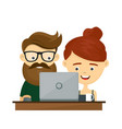 young hipster couple man and woman sitting vector image vector image