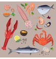 fresh seafood with spices icons collection vector image