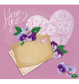 Vintage postcards beautiful pansy flowers vector image