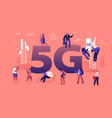 5g technology concept workers on transmitter vector image vector image