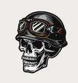 biker skull wearing motorcycle helmet and goggles vector image vector image
