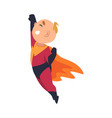 boy in flight pose holds his hand up cartoon vector image vector image