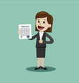 businesswoman or manager holding a contract or vector image vector image
