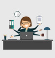 busy secretary smiling with laptop vector image vector image
