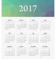 Calendar 2017 Week starts from Sunday vector image vector image