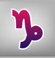 capricorn sign purple vector image vector image