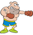 cartoon boxer punching vector image vector image