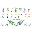 colorful hand drawn floral elements vector image vector image
