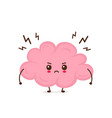 cute angry funny brain have stress vector image