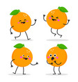 cute cartoon orange character set vector image vector image