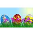 Easter Eggs on Springtime Meadow vector image vector image