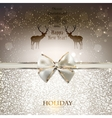 Elegant greeting card with white bow and copy vector image vector image