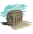 empty old pirate forged chest vector image vector image