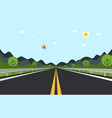 empty road with hills on background vector image vector image