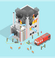 firefighter and building on fire concept 3d vector image vector image