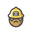 fireman in helmet icon cartoon vector image
