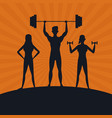 fitness people silhouette vector image