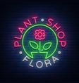 flower shop plants florist flora emblem sign vector image vector image
