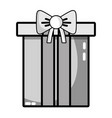 grayscale nice present gift to merry christmas vector image vector image