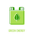 green energy icon with battery and plant leaf vector image