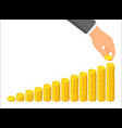 growing columns coins and a hand that puts vector image