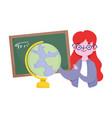happy teachers day teacher with chalkboard vector image vector image