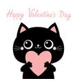 happy valentines day black cat kitten kitty head vector image vector image
