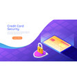 isometric web banner credit card with shield and vector image