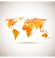 Low poly orange world map vector image vector image