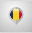 map navigation pointer with chad flag design vector image vector image