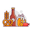 october fest beer festival line art scene vector image