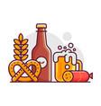 october fest beer festival line art scene vector image vector image