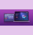 page design templates analysismanagement app vector image vector image