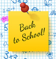 Paper Note with Lettering Back to School vector image vector image
