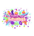Print with stylized summer objects abstract