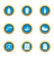 production garbage icons set flat style vector image vector image