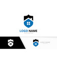 real estate and shield logo combination vector image