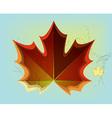 Red maple leaf on blue background vector image