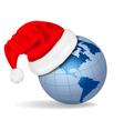 santa hat on a globe vector image