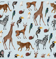 seamless pattern with wild animals vector image vector image