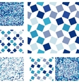 Set of abstract seamless patterns with squares vector image