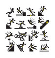 set of falling man in warning signs vector image