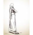 sketch woman in sari hand drawn vector image