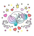 sleeping little unicorn for web vector image vector image