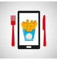 smartphone order french fries food online vector image vector image