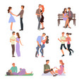 the guy and the girl in love walk each other go vector image vector image