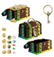 treasure chest set vector image vector image