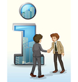 two businessmen in front number one symbol vector image